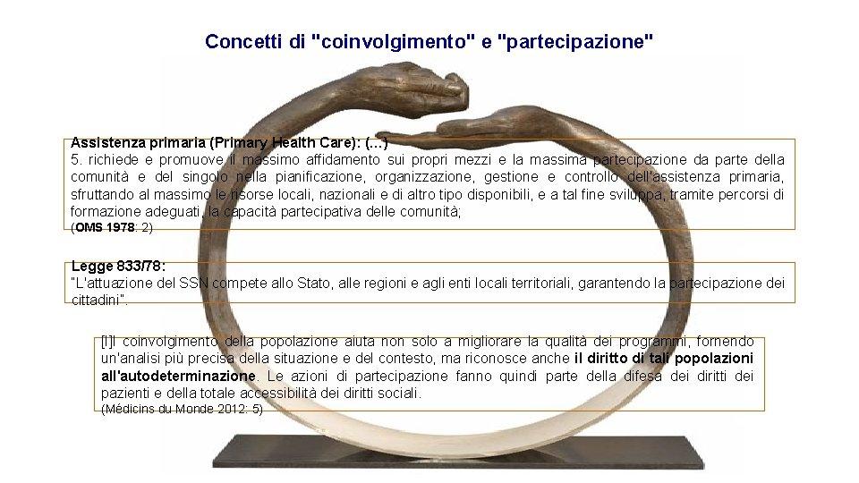 """Concetti di """"coinvolgimento"""" e """"partecipazione"""" Assistenza primaria (Primary Health Care): (…) 5. richiede e"""