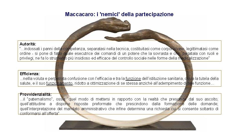 """Maccacaro: i 'nemici' della partecipazione Autorità: """". . . indossati i panni della competenza,"""