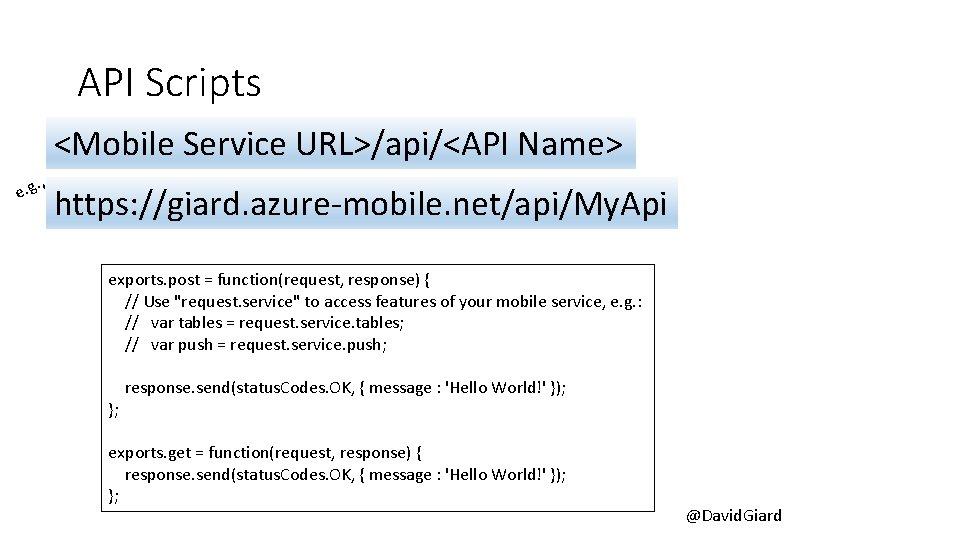 API Scripts <Mobile Service URL>/api/<API Name>. , e. g https: //giard. azure-mobile. net/api/My. Api