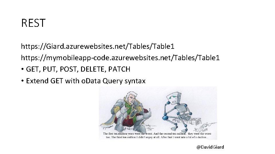 REST https: //Giard. azurewebsites. net/Tables/Table 1 https: //mymobileapp-code. azurewebsites. net/Tables/Table 1 • GET, PUT,
