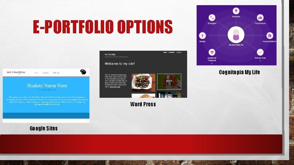 E-PORTFOLIO OPTIONS Cognitopia My Life Word Press Google Sites