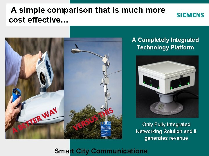 A simple comparison that is much more cost effective… Agenda A Completely Integrated Technology