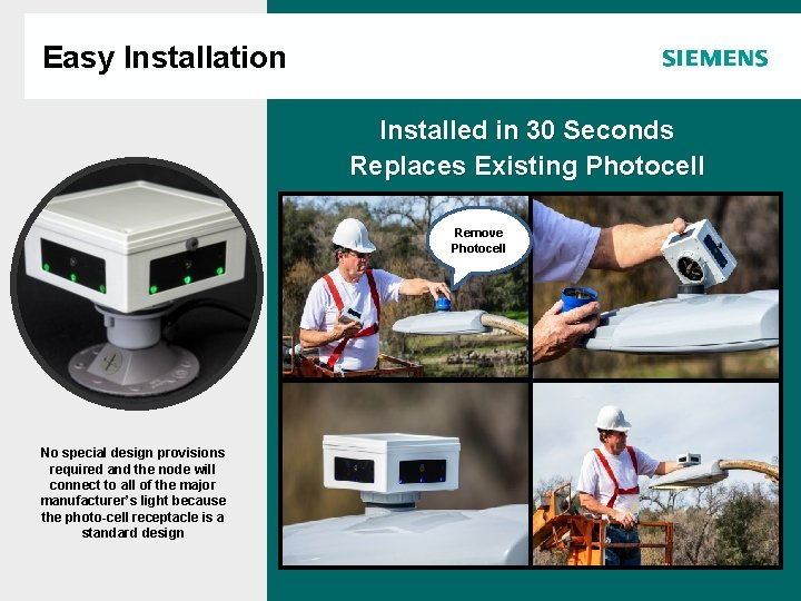 Easy Installation Agenda Installed in 30 Seconds Replaces Existing Photocell Remove Photocell No special