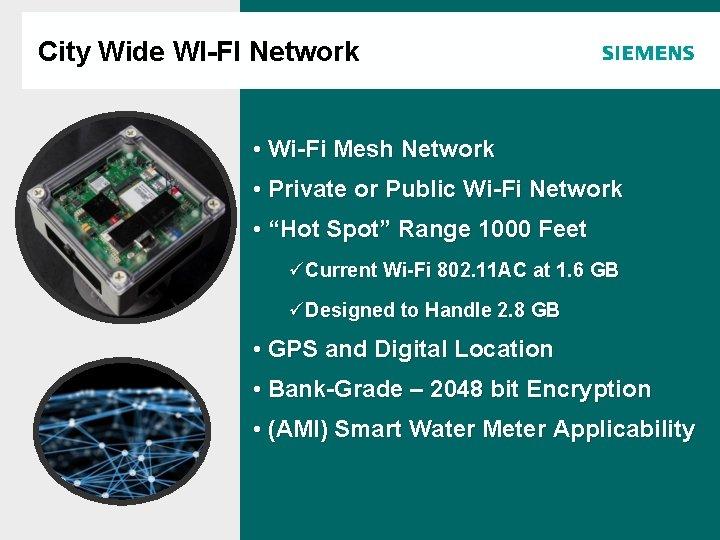 City Wide WI-FI Network Agenda • Wi-Fi Mesh Network • Private or Public Wi-Fi