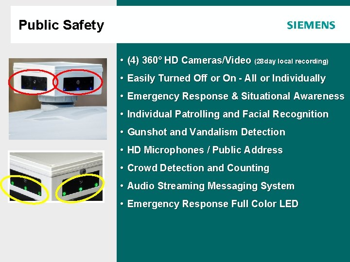 Public Safety Agenda • (4) 360° HD Cameras/Video (28 day local recording) • Easily