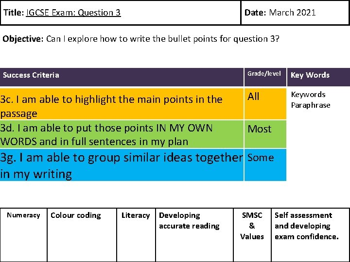 Title: IGCSE Exam: Question 3 Date: March 2021 Objective: Can I explore how to