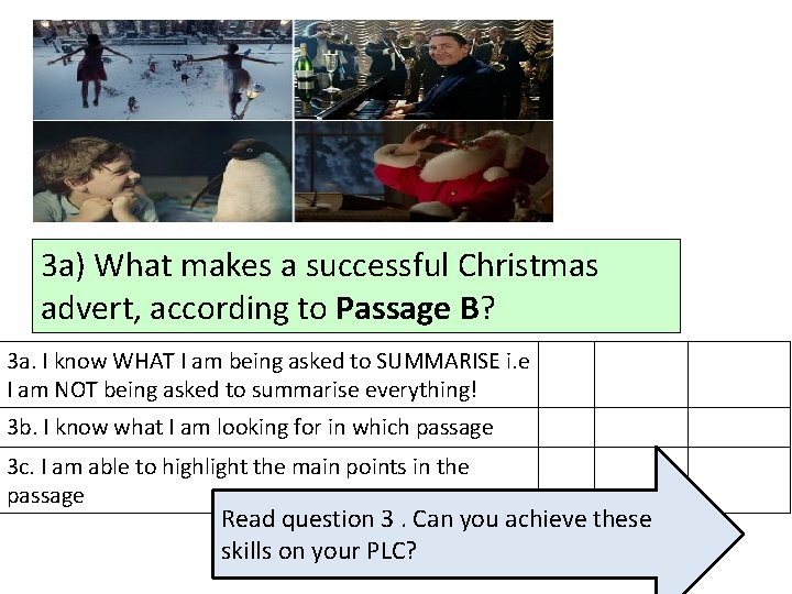 3 a) What makes a successful Christmas advert, according to Passage B? 3 a.