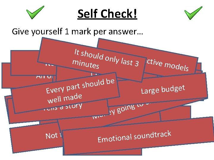 Self Check! Give yourself 1 mark per answer… It shou Capltduor nly l Attrac