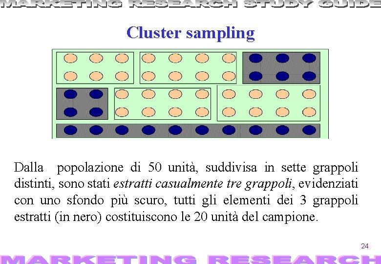 Cluster sampling Dalla popolazione di 50 unità, suddivisa in sette grappoli distinti, sono stati