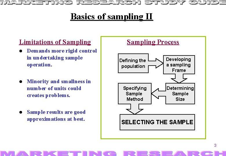 Basics of sampling II Limitations of Sampling Demands more rigid control in undertaking sample