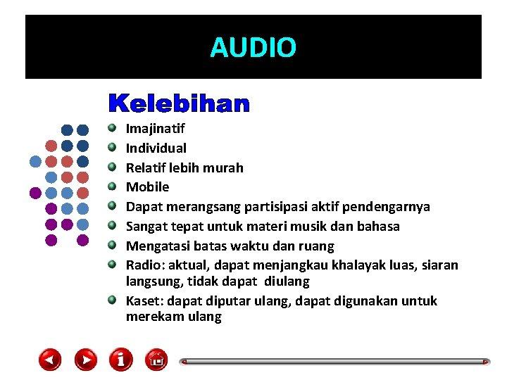 AUDIO Imajinatif Individual Relatif lebih murah Mobile Dapat merangsang partisipasi aktif pendengarnya Sangat tepat