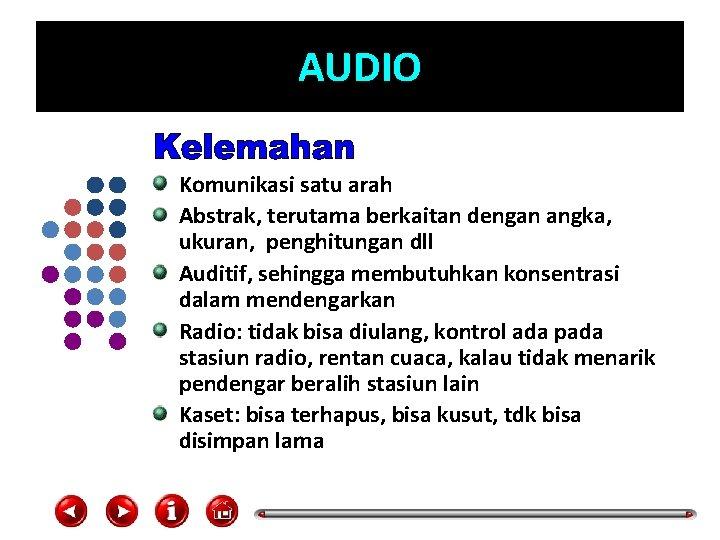 AUDIO Komunikasi satu arah Abstrak, terutama berkaitan dengan angka, ukuran, penghitungan dll Auditif, sehingga