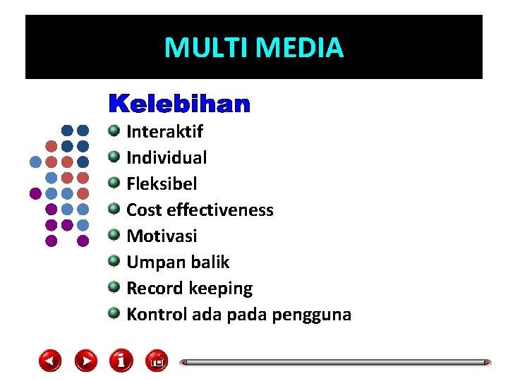 MULTI MEDIA Interaktif Individual Fleksibel Cost effectiveness Motivasi Umpan balik Record keeping Kontrol ada