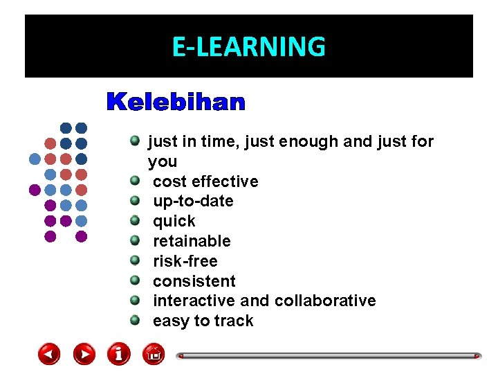 E-LEARNING just in time, just enough and just for you cost effective up-to-date quick