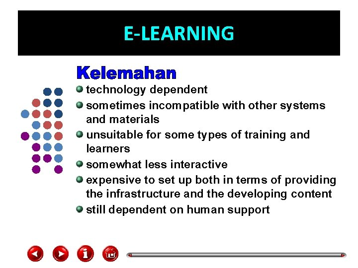E-LEARNING technology dependent sometimes incompatible with other systems and materials unsuitable for some types