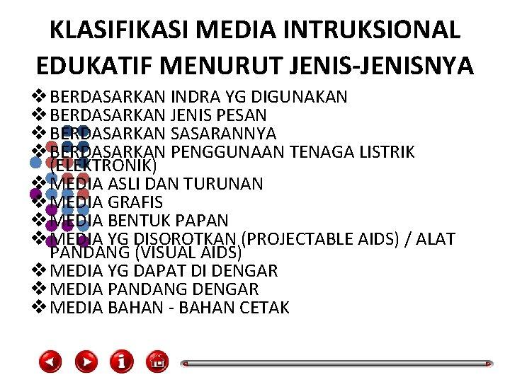 KLASIFIKASI MEDIA INTRUKSIONAL EDUKATIF MENURUT JENIS-JENISNYA v BERDASARKAN INDRA YG DIGUNAKAN v BERDASARKAN JENIS