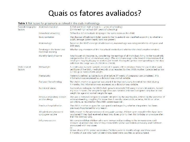 Quais os fatores avaliados?