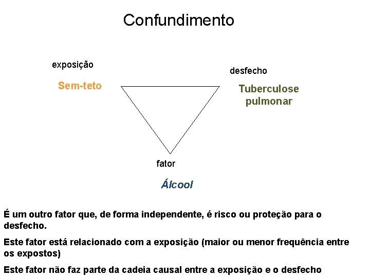 Confundimento exposição desfecho Sem-teto Tuberculose pulmonar fator Álcool É um outro fator que, de