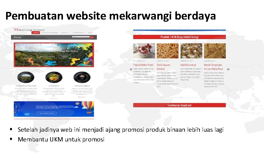 Pembuatan website mekarwangi berdaya § Setelah jadinya web ini menjadi ajang promosi produk binaan