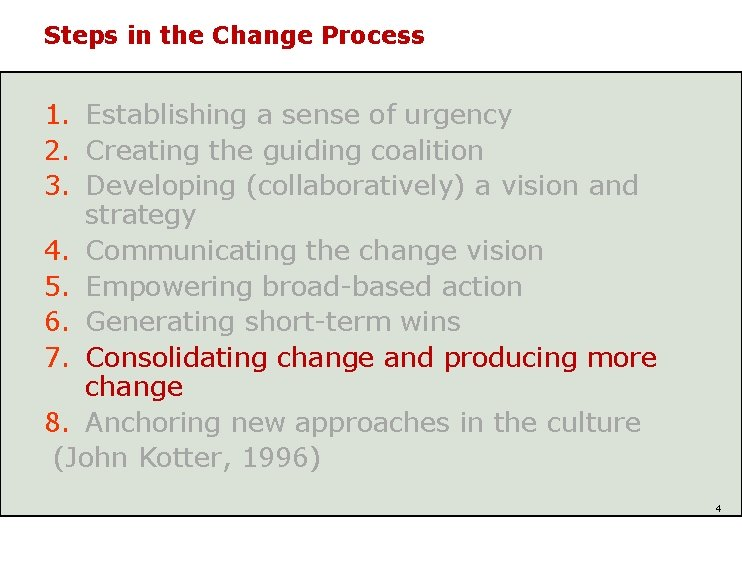 Steps in the Change Process 1. Establishing a sense of urgency 2. Creating the