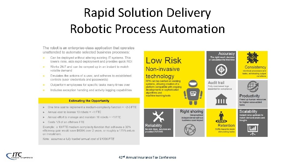 Rapid Solution Delivery Robotic Process Automation 42 nd Annual Insurance Tax Conference
