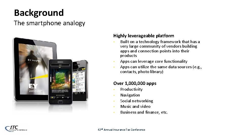 Background The smartphone analogy Highly leverageable platform • • • Built on a technology