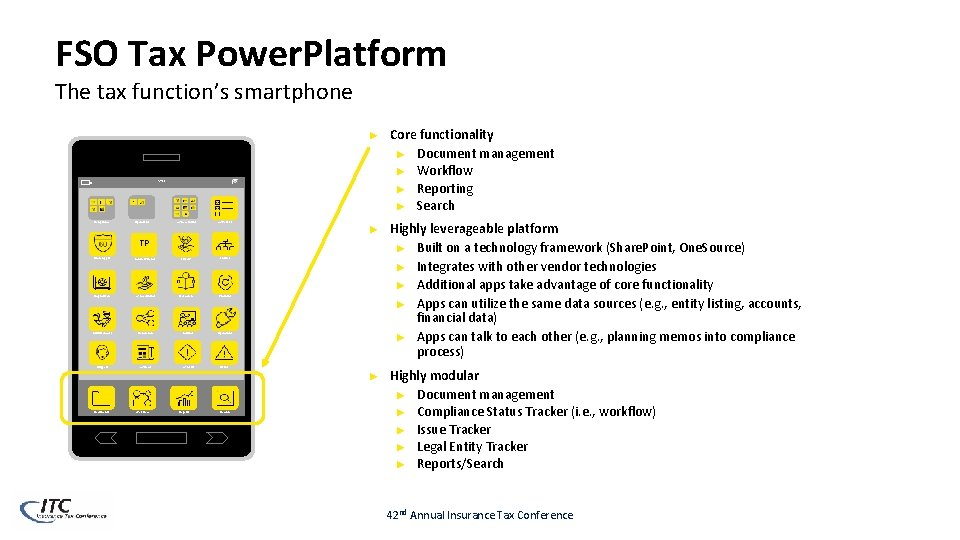 FSO Tax Power. Platform The tax function's smartphone ► Core functionality ► Document management