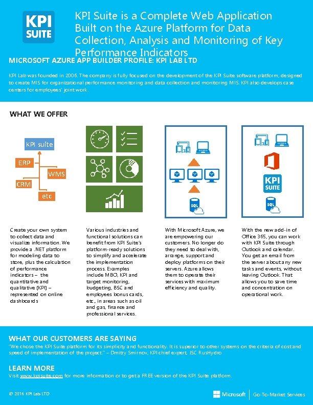 KPI Suite is a Complete Web Application Built on the Azure Platform for Data
