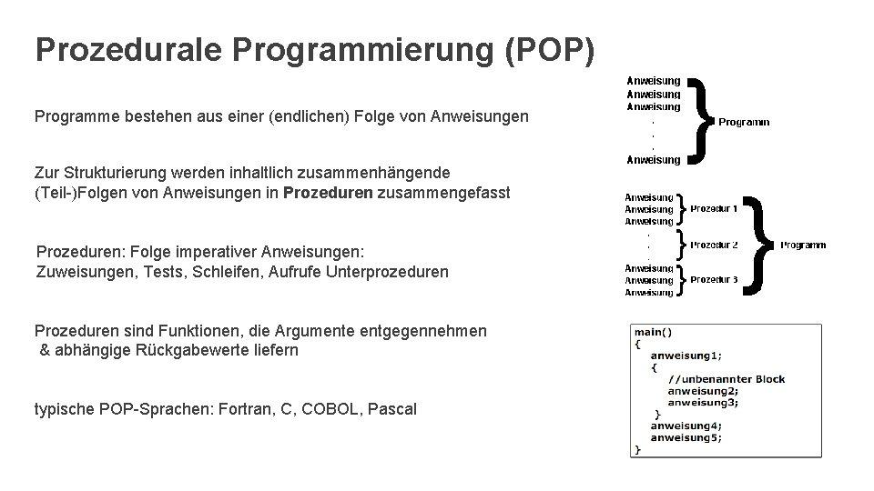 Prozedurale Programmierung (POP) Programme bestehen aus einer (endlichen) Folge von Anweisungen Zur Strukturierung werden