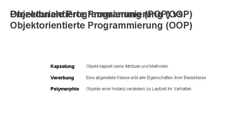 Objektorientierte Programmierung Prozedurale Programmierung (POP)(OOP) vs. Objektorientierte Programmierung (OOP) Kapselung Objekt kapselt seine Attribute