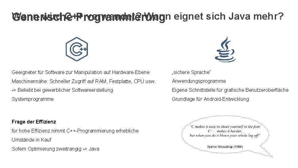 Wann wird C++ verwendet? Wann eignet sich Java mehr? Generische Programmierung Geeigneter für Software