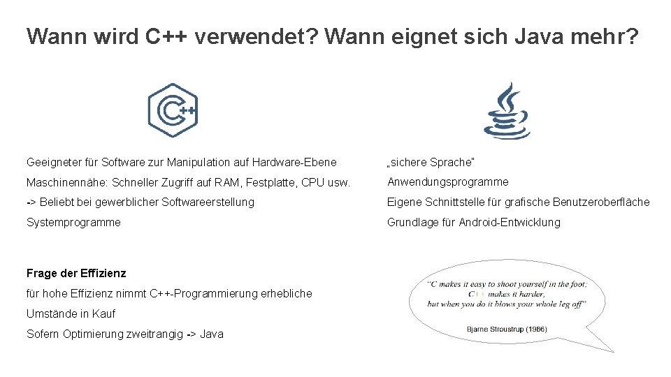 Wann wird C++ verwendet? Wann eignet sich Java mehr? Geeigneter für Software zur Manipulation