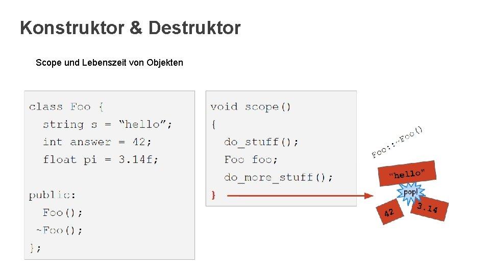 Konstruktor & Destruktor Scope und Lebenszeit von Objekten