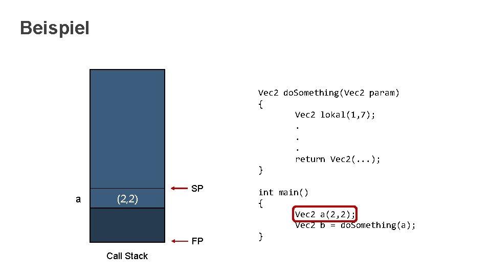 Beispiel Vec 2 do. Something(Vec 2 param) { Vec 2 lokal(1, 7); . .