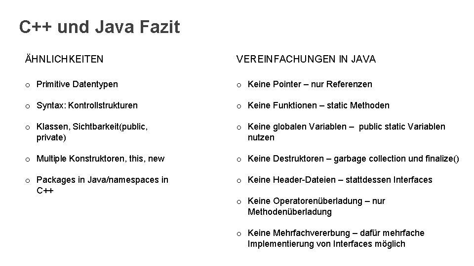 C++ und Java Fazit ÄHNLICHKEITEN VEREINFACHUNGEN IN JAVA o Primitive Datentypen o Keine Pointer