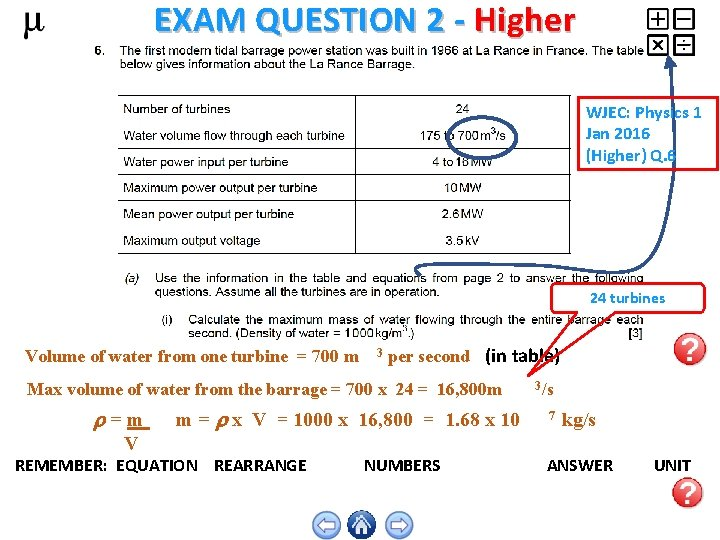 EXAM QUESTION 2 - Higher WJEC: Physics 1 Jan 2016 (Higher) Q. 6 24