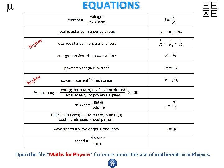 """EQUATIONS r e igh h er h hig Open the file """"Maths for Physics"""""""