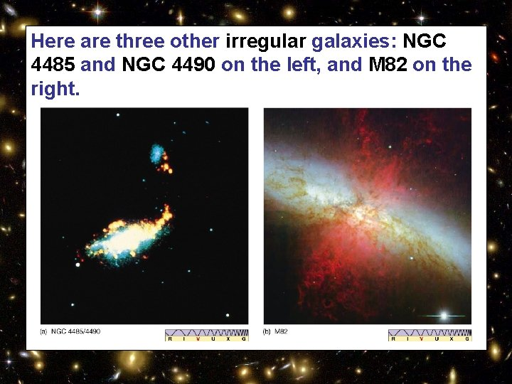 Here are three other irregular galaxies: NGC 4485 and NGC 4490 on the left,