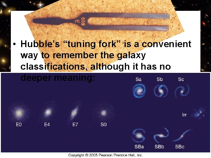 """• Hubble's """"tuning fork"""" is a convenient way to remember the galaxy classifications,"""