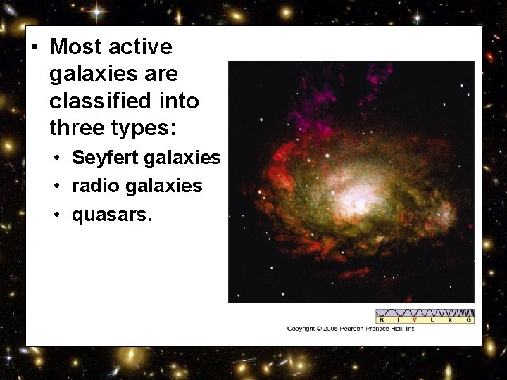 • Most active galaxies are classified into three types: • Seyfert galaxies •