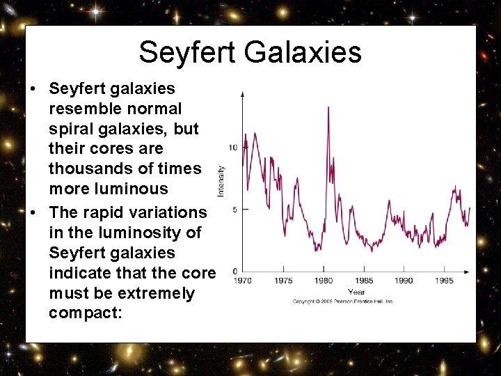 Seyfert Galaxies • Seyfert galaxies resemble normal spiral galaxies, but their cores are thousands