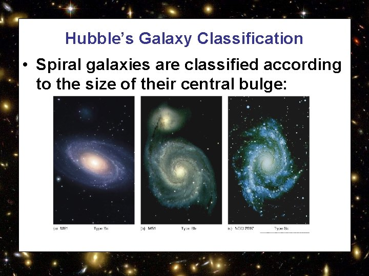 Hubble's Galaxy Classification • Spiral galaxies are classified according to the size of their