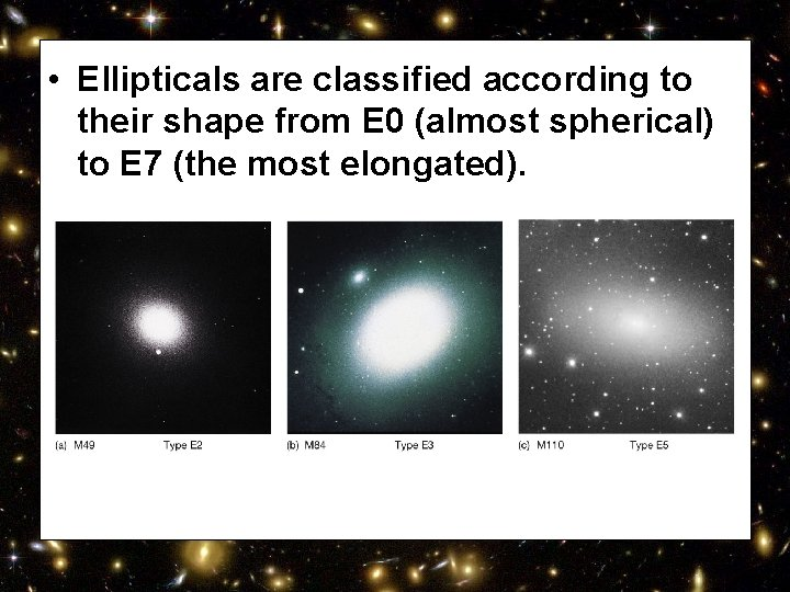 • Ellipticals are classified according to their shape from E 0 (almost spherical)