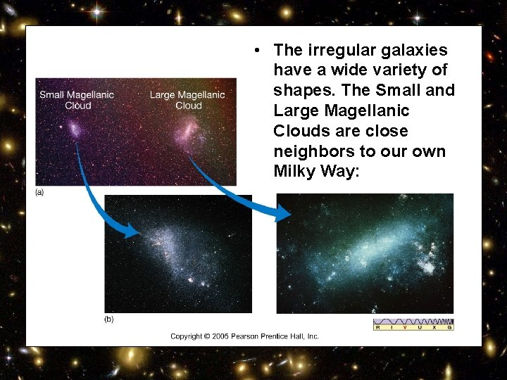 • The irregular galaxies have a wide variety of shapes. The Small and