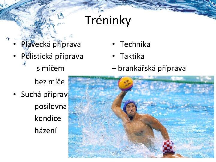 Tréninky • Plavecká příprava • Pólistická příprava s míčem bez míče • Suchá příprava