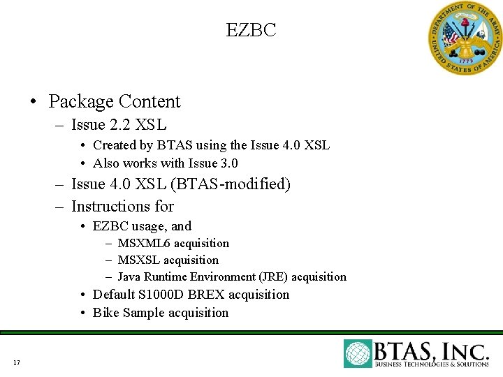 EZBC • Package Content – Issue 2. 2 XSL • Created by BTAS using