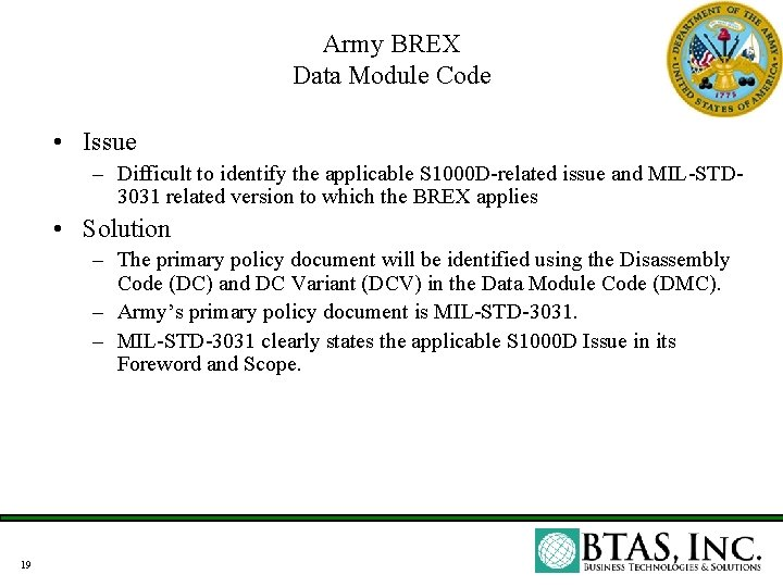 Army BREX Data Module Code • Issue – Difficult to identify the applicable S