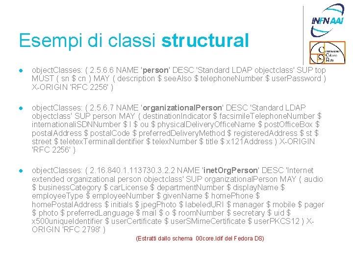 Esempi di classi structural l object. Classes: ( 2. 5. 6. 6 NAME 'person'