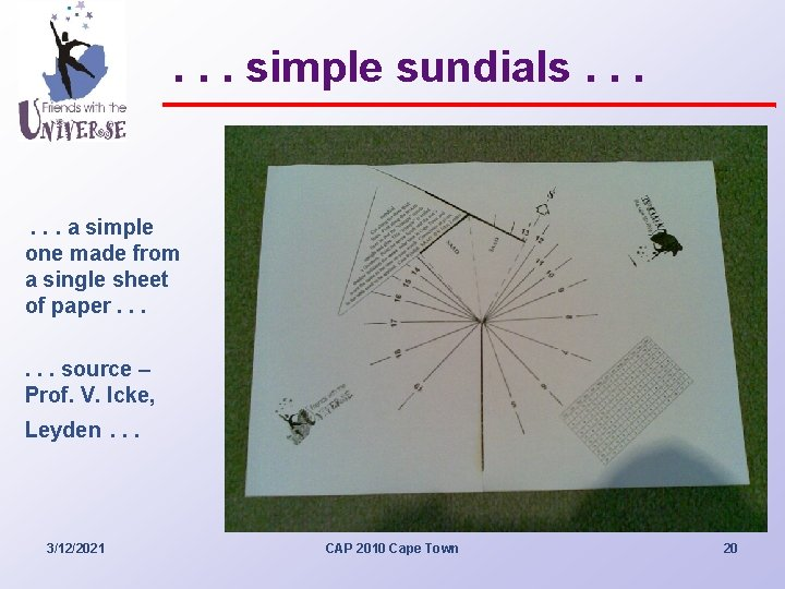 . . . simple sundials. . . a simple one made from a single