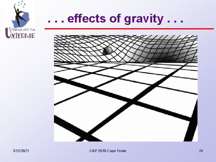 . . . effects of gravity. . . 3/12/2021 CAP 2010 Cape Town 24